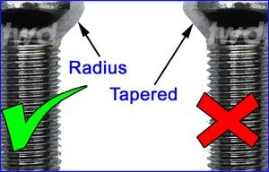Radius seat bolts