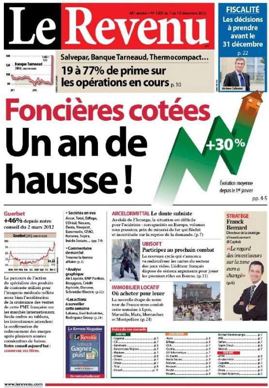 Le Revenu Hebdo Bourse N°1204 du 7 au 13 Décembre 2012