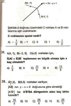 analitik geometri soruları